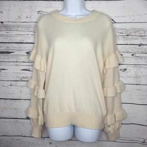J.CREW pullover sweater ruffled sleeves
